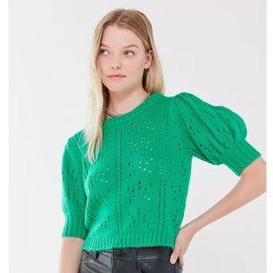 For Love & Lemons Brooke Pointelle Puff Sleeve Sweater